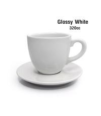 แก้วกาแฟ  320 cc (XL) พร้อมจานรอง สีขาวเงา 1618-075