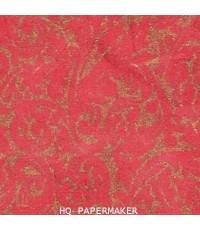 กระดาษสาเครื่อง พิมพ์ลาย 1สี ขนนกสีทองบนพี้นสีแดง 5025/011