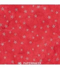 กระดาษสาเครื่อง พิมพ์ลาย 1สี ดาวสีเงินบนพื้นแดง 5025/001