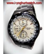 นาฬิกาข้อมือสายเหล็ก LONGBO หน้าปัดกลมขาว-ขอบดำ
