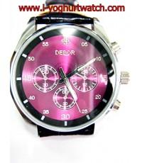 นาฬิกาข้อมือสายหนังDebor หน้าปัดกลมม่วง-ขอบเงิน