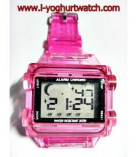 นาฬิกาข้อมือแฟชั่น หน้าปัดเหลี่ยมชมพู