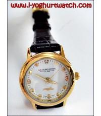นาฬิกาข้อมือสายหนัง US SUBMARINE หน้าปัดกลมขาวขอบทอง (หน้าปัดเล็ก)