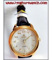 นาฬิกาข้อมือสายหนัง DEBOR หน้าปัดกลมขาวขอบทอง (หน้าปัดเล็ก ตัวเลขไทย)