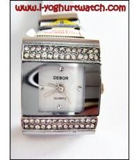 นาฬิกาข้อมือแฟชั่นสายเลื่อน DEBOR หน้าปัดเหลี่ยมขาวฝั่งเพชรขอบเงิน