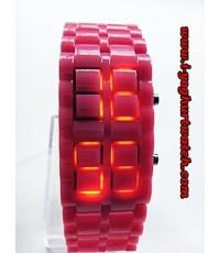 นาฬิกาข้อมือLED หน้าปัดเหลี่ยม(สีชมพูทั้งเรือน)