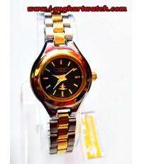 นาฬิกาข้อมือสแตนเลส US SUBMARINE หน้าปัดกลมสีดำขอบทองตัวเรือนสีเงิน(สำหรับสตรี)