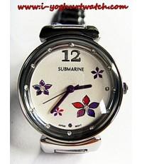 นาฬิกาข้อมือสแตนเลส US SUBMARINE หน้าปัดกลมฝังเพชร
