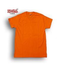 เสื้อสีพื้นคอวีสีส้ม No.10 ผ้า Cotton  เนื้อผ้านุ่ม