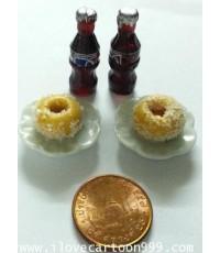 ชุดของว่างสำหรับ 2 ที่ ขนาดจิ๋ว (SIZE เทียบกับเหรียญ) งานปราณี ละเอียด เหมือนจริง
