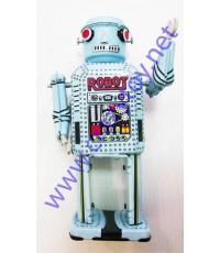 Robot ฟ้า ของเล่นสังกะสีไขลาน