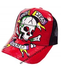 หมวกแก๊ปหนังสีแดง+ตาข่าย Ed Hardy ลายหัวกระโหลก ปรับขนาดได้