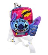 กระเป๋าผ้า Stitch มีซิป+สายห้อยคอ ใส่มือถือ หรือของกระจุกกระจิก