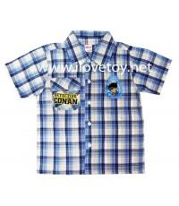 เสื้อเชิ้ตแขนสั้น ของเด็ก โคนัน Conan สีน้ำเงินลายสก๊อต มีกระเป๋า งานสกรีน + งานปัก