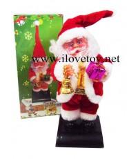 ซานตาครอสใส่ถ่านเคลื่อนไหวได้+พูดอวยพรได้ มีกล่อง เหมาะเป็นของขวัญ สูง 23 ซ.ม.