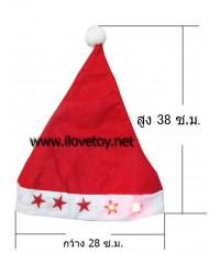 หมวกซานตาครอส+ไฟกระพริบรูปดาว Santa claus Hat ทำจากผ้าสำลี