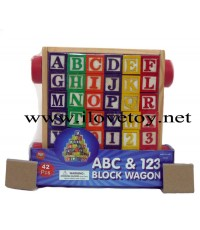 ของเล่นไม้ รถเข็นลาก A-Z  123 Block Wagon เรียนรู้ภาษาอังกฤษ