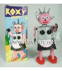 ของเล่นสังกะสี Tintoy หุ่นยนต์ Roxy Robot ไขลานเดินได้ ใ่ส่กระโปรงสีชมพู