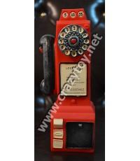 กระปุกรูปทรงตู้โทรศัพท์สีแดง วัสดุอย่างดี ไม่ใช่พลาสติก   ใส่เหรียญ 10 ได้ มีที่เปิดออก