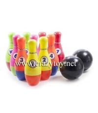 ชุดโบว์ลิ่งของเล่น  Bowling Toy พินสูง 25 ซ.ม.  จำนวน 10 ชิ้น ลูกบอล จำนวน 2 ลูก