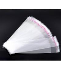 B10430ถุงพลาสติกใสมีแถบกาวปิดปากถุง 3.5x14cm (ส่วนใช้งาน 3.5x11cm) แพ็ค 200 ใบ