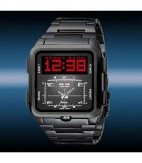 มาใหม่ เข้มขรึม สง่างาม นาฬิกาข้อมือชาย WEIDE แท้ 2 ระบบ หน้าปัดดำทรงเหลี่ยม