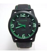 นาฬิกาข้อมือผู้ชาย HOOPS ขอบในหน้าปัดสีเขียว  เรือนดำ