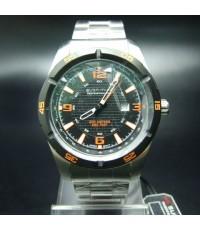นาฬิกาข้อมือชาย US SUBMARINE แท้ หน้าปัดดำเลขสีส้ม