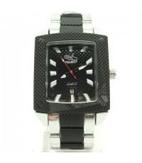 นาฬิกาข้อมือผู้ชาย GEO-STAR แท้ หน้าปัดดำ ทรงสี่เหลี่ยม มีวันที่