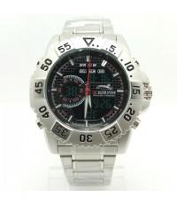 นาฬิกาข้อมือชาย US SUBMARINE แท้ 2 ระบบสายเหล็ก หน้าปัดดำ