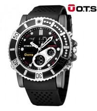 นาฬิกาข้อมือ O.T.S แท้ 2 ระบบ ขอบหน้าปัดหยักเรือนดำ
