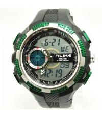 นาฬิกาข้อมือ ALIKE 2 ระบบ ปุ่มเหลี่ยมสีเขียว