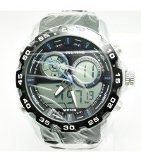 นาฬิกาข้อมือ ALIKE 2 ระบบ หน้าปัดดิจิตอลวงกลม 2 หน้าปัด เข็มสีฟ้า