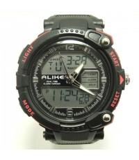นาฬิกาข้อมือ ALIKE 2 ระบบ ปุ่ม 2 สี สีแดง