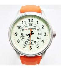 นาฬิกาข้อมือ US SUBMARINE แท้หน้าปัดครีมสายส้ม พร้อมชุดเปลี่ยนสายได้