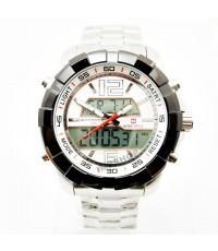 นาฬิกาข้อมือชาย NAVIFORCE 2 ระบบ หน้าปัดขาว เรือนเงิน เจ๋งสุดยอด