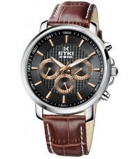 นาฬิกาข้อมือชาย EYKI 3 หน้าปัดดำขอบทอง สายหนังสีน้ำตาล