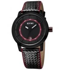 นาฬิกาข้อมือชาย EYKI แถบเวลาสีแดง สายหนังขอบสี