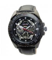 นาฬิกาข้อมือชาย GEO-STAR ระบบ AUTOMATIC ขอบหน้าปัดหยัก เรือนดำ สายหนังสีดำ