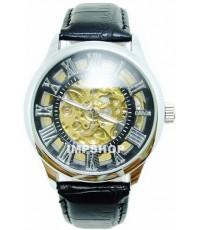 นาฬิกาข้อมือชาย DEBOR ระบบ AUTOMATIC หน้าปัดฉลุตัวเลขโรมัน สายหนัง