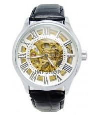 นาฬิกาข้อมือชาย DEBOR ระบบ AUTOMATIC หน้าปัดขาว ฉลุตัวเลขโรมัน สายหนัง