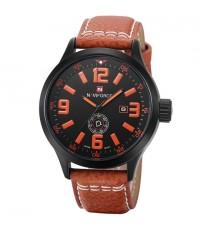 นาฬิกาข้อมือผู้ชาย NAVIFORCE แท้ เรือนดำ ตัวเลข,เข็มส้ม สายหนังสีน้ำตาล