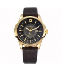 นาฬิกาข้อมือผู้ชาย CURREN หน้าปัดดำ เรือนทอง สายหนัง