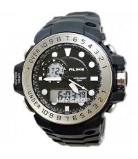 นาฬิกาข้อมือ ALIKE 2 ระบบ จุดชั่วโมงสีขาว ขอบสีเงิน