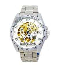 นาฬิกาข้อมือชาย debor ระบบ AUTO หน้าปัดขาวเงินฉลุลายเส้น เลขอารบิค
