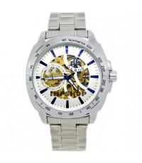 นาฬิกาข้อมือชาย DEBOR ระบบ AUTOMATIC,กลไก หน้าปัดขาวเงิน เรือนเงิน