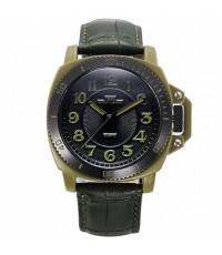 นาฬิกาข้อมือผู้ชาย IBSO แท้ เรือนเหลี่ยมโค้ง ตัวเลข,เข็มสีเขียว สายหนัง