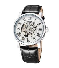 นาฬิกาข้อมือชาย ระบบ AUTOMATIC หน้าปัดขาวตัวเลขโรมัน สายหนังสีดำ