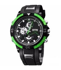 นาฬิกาข้อมือชาย O.T.S แท้ 2 ระบบ ขอบหน้าปัดสีเขียว เรือนดำ