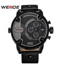 นาฬิกาข้อมือชาย WEIDE หน้าปัดดำ เรือนดำ 4 ปุ่ม สายหนัง